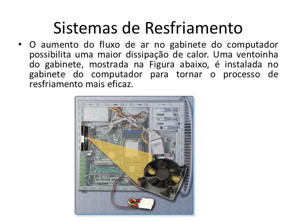 Sistemas de Resfriamento O aumento do fluxo de ar no gabinete do computador possibilita uma maior dissipação de calor. Uma ventoinha do gabinete, most