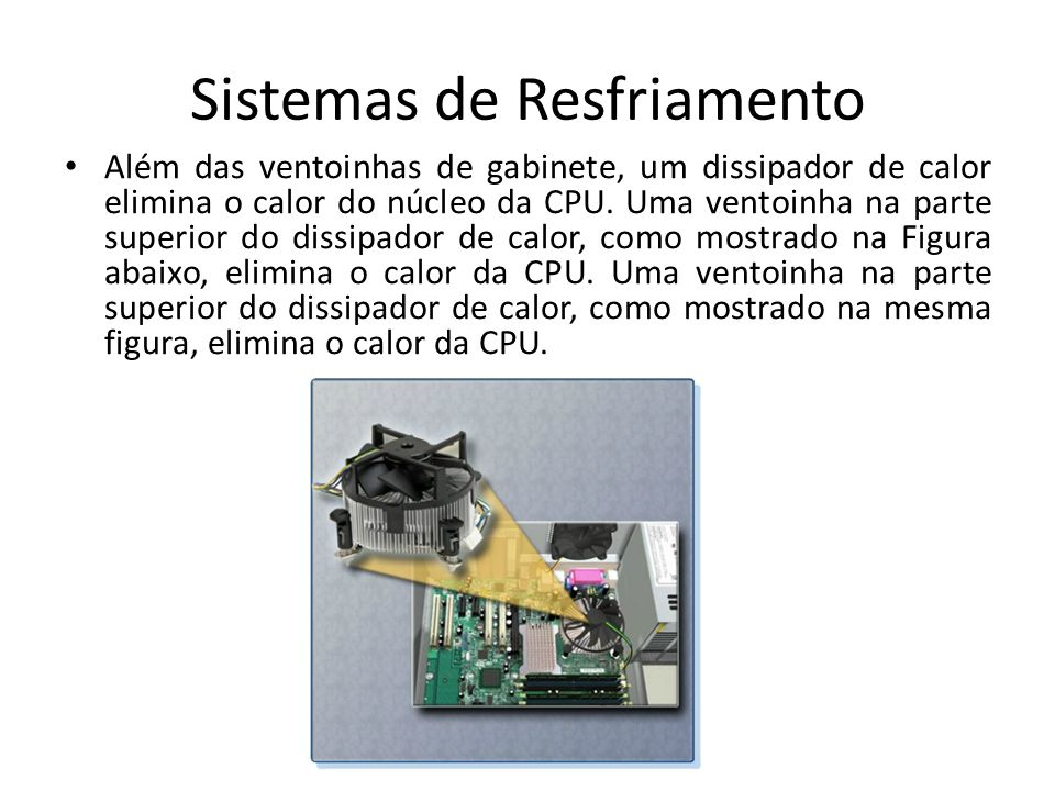 Sistemas de Resfriamento Além das ventoinhas de gabinete, um dissipador de calor elimina o calor do núcleo da CPU. Uma ventoinha na parte superior do