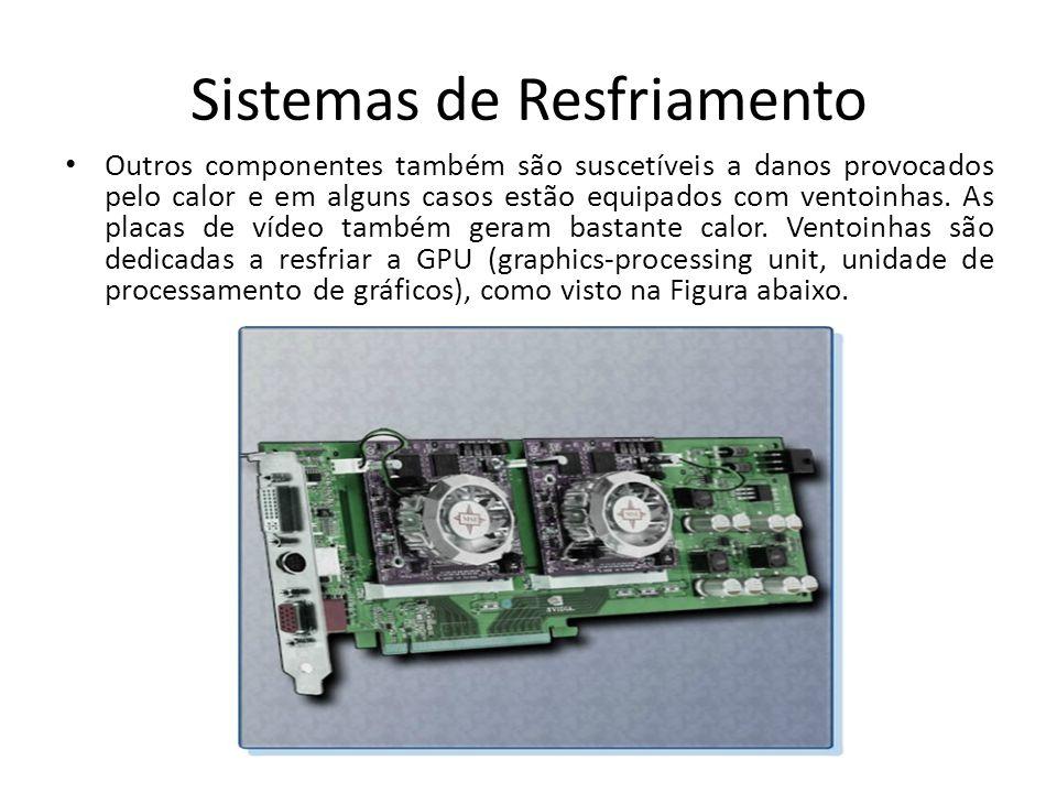 Sistemas de Resfriamento Outros componentes também são suscetíveis a danos provocados pelo calor e em alguns casos estão equipados com ventoinhas. As