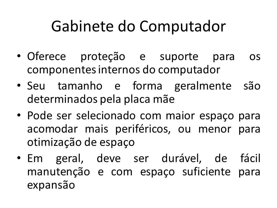 Gabinete do Computador Oferece proteção e suporte para os componentes internos do computador Seu tamanho e forma geralmente são determinados pela plac