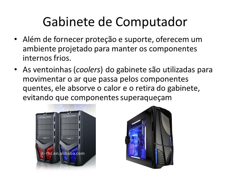 Gabinete de Computador Além de fornecer proteção e suporte, oferecem um ambiente projetado para manter os componentes internos frios. As ventoinhas (c
