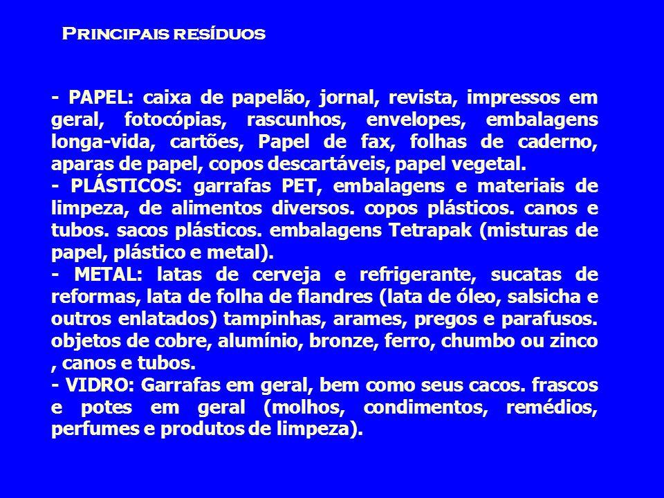 Principais resíduos - PAPEL: caixa de papelão, jornal, revista, impressos em geral, fotocópias, rascunhos, envelopes, embalagens longa-vida, cartões,