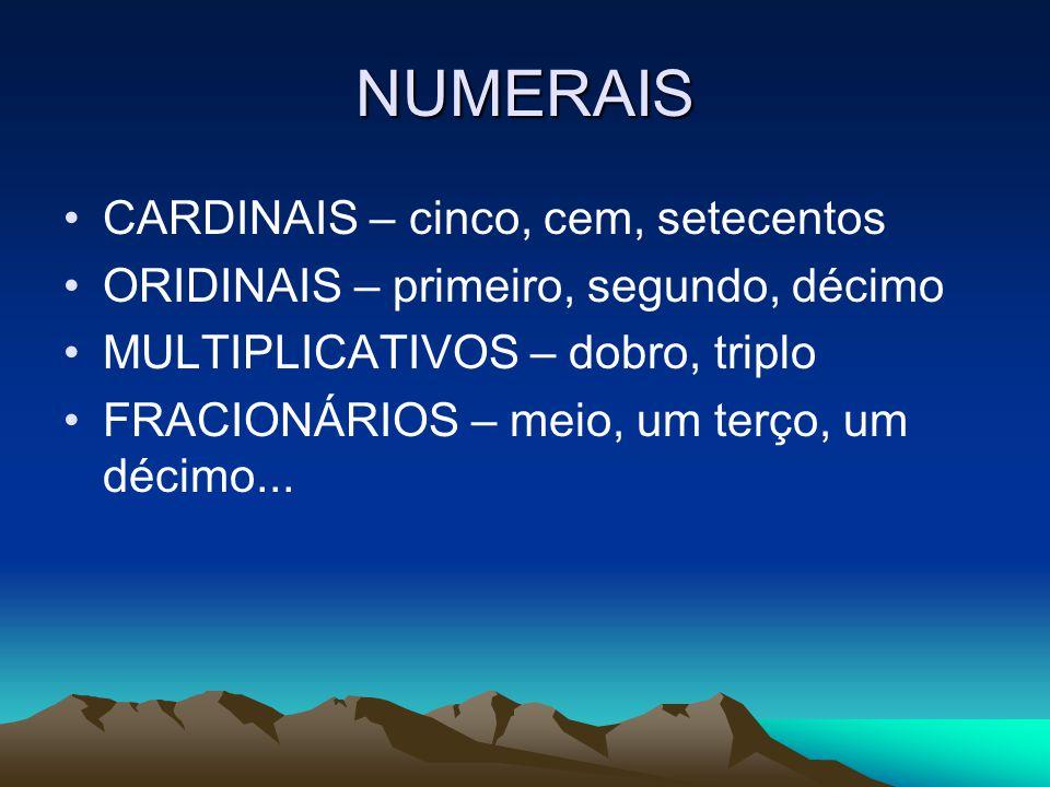 NUMERAIS CARDINAIS – cinco, cem, setecentos ORIDINAIS – primeiro, segundo, décimo MULTIPLICATIVOS – dobro, triplo FRACIONÁRIOS – meio, um terço, um décimo...