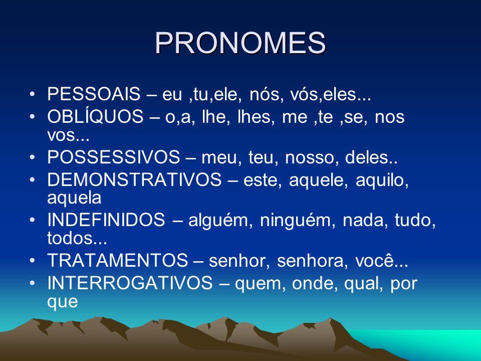 PRONOMES PESSOAIS – eu,tu,ele, nós, vós,eles... OBLÍQUOS – o,a, lhe, lhes, me,te,se, nos vos... POSSESSIVOS – meu, teu, nosso, deles.. DEMONSTRATIVOS