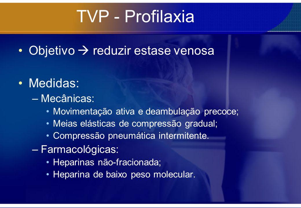 TVP - Profilaxia Objetivo reduzir estase venosa Medidas: –Mecânicas: Movimentação ativa e deambulação precoce; Meias elásticas de compressão gradual;