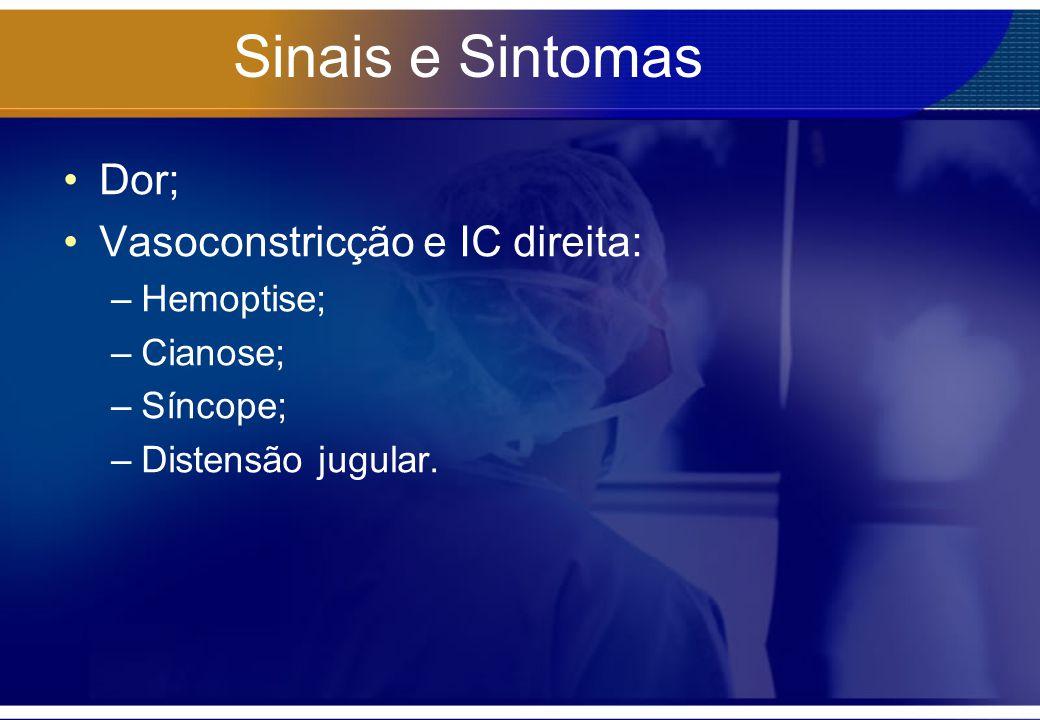 Sinais e Sintomas Dor; Vasoconstricção e IC direita: –Hemoptise; –Cianose; –Síncope; –Distensão jugular.