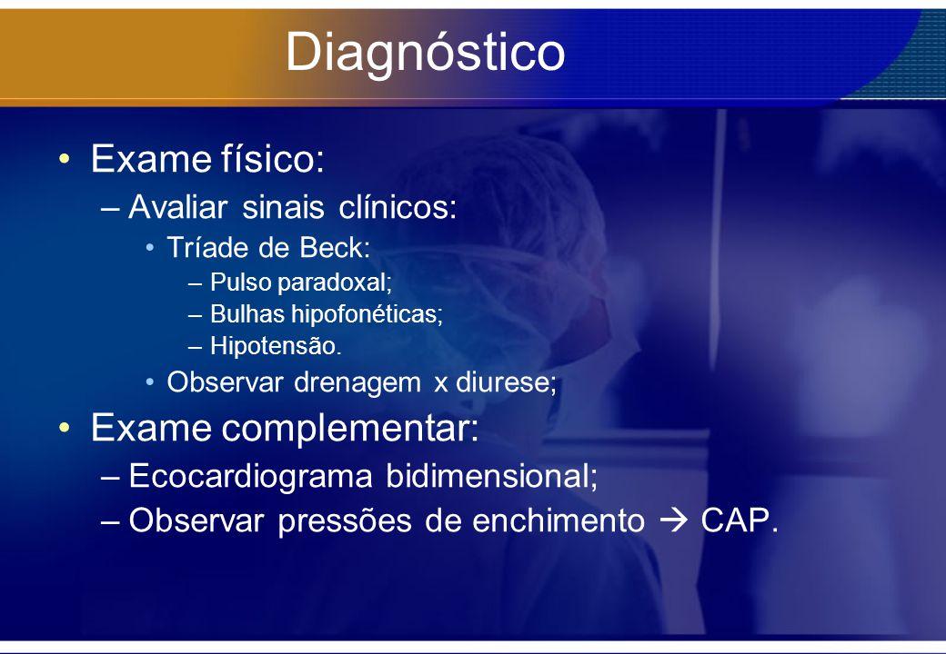 Diagnóstico Exame físico: –Avaliar sinais clínicos: Tríade de Beck: –Pulso paradoxal; –Bulhas hipofonéticas; –Hipotensão. Observar drenagem x diurese;