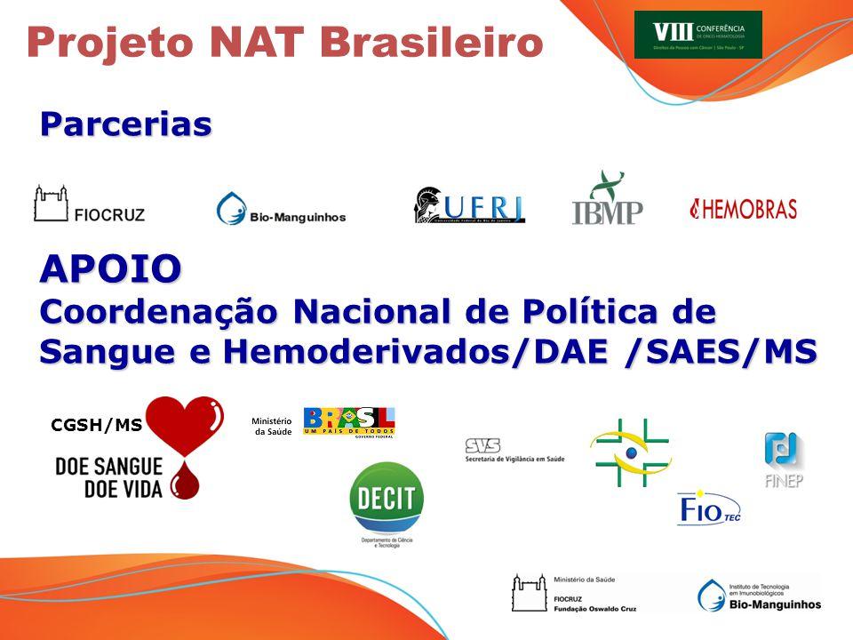 Projeto NAT Brasileiro ParceriasAPOIO Coordenação Nacional de Política de Sangue e Hemoderivados/DAE /SAES/MS CGSH/MS