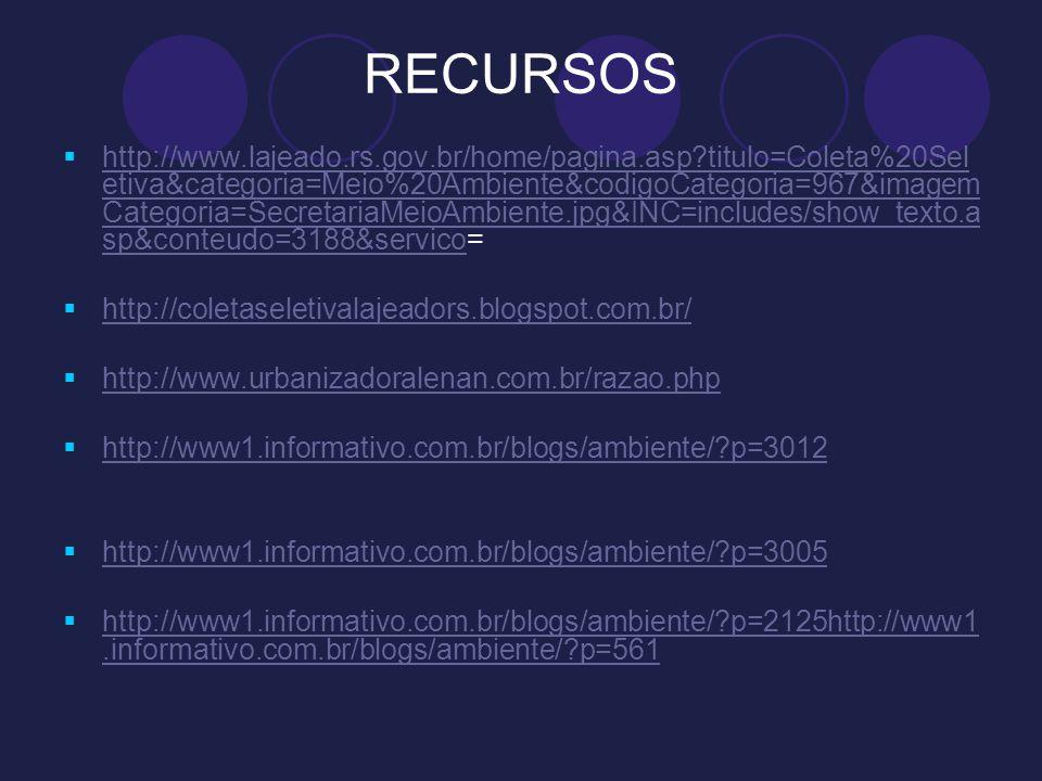 RECURSOS http://www.lajeado.rs.gov.br/home/pagina.asp?titulo=Coleta%20Sel etiva&categoria=Meio%20Ambiente&codigoCategoria=967&imagem Categoria=Secreta