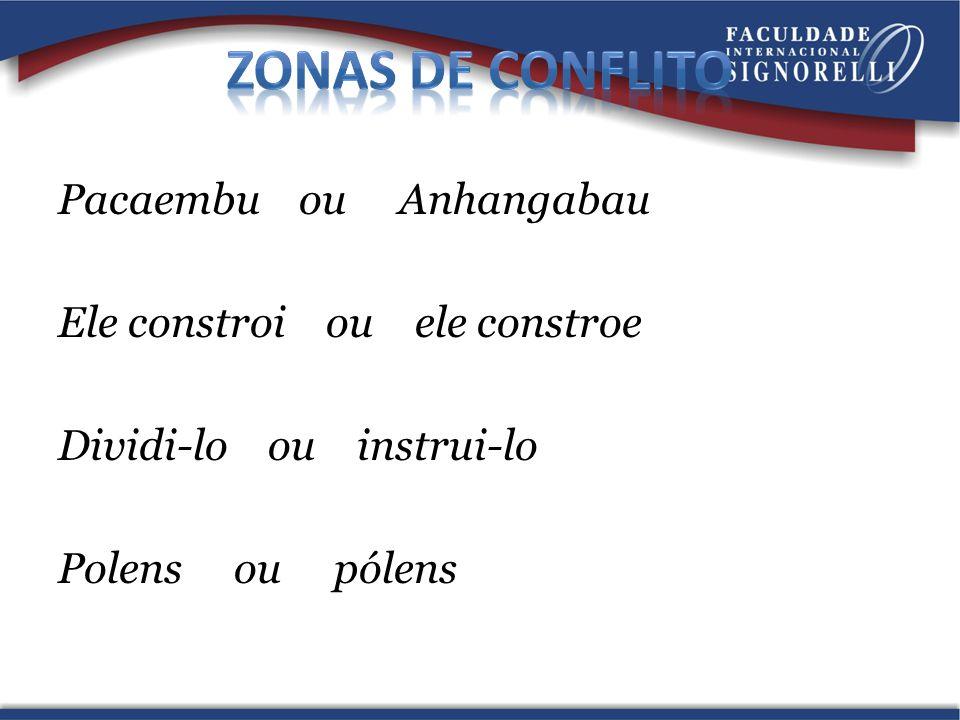 Pacaembu ou Anhangabau Ele constroi ou ele constroe Dividi-lo ou instrui-lo Polens ou pólens