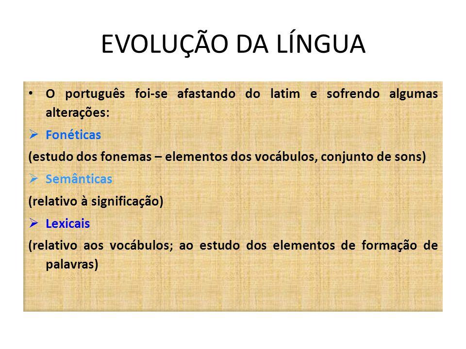 EVOLUÇÃO DA LÍNGUA O português foi-se afastando do latim e sofrendo algumas alterações: Fonéticas (estudo dos fonemas – elementos dos vocábulos, conju
