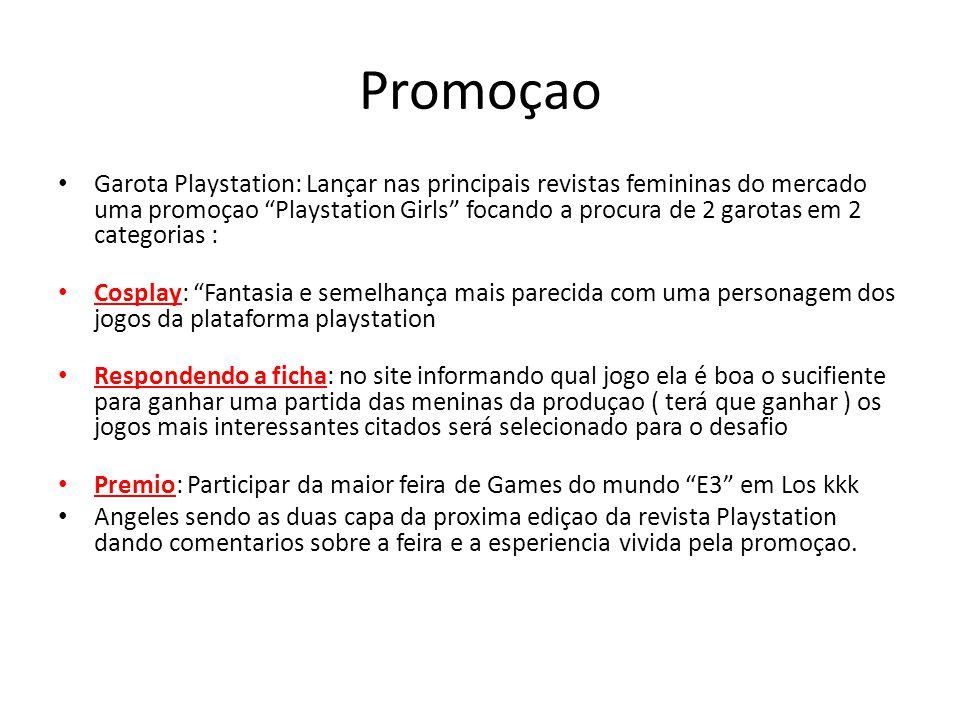 Promoçao Garota Playstation: Lançar nas principais revistas femininas do mercado uma promoçao Playstation Girls focando a procura de 2 garotas em 2 ca