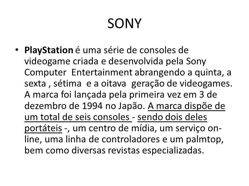 SONY PlayStation é uma série de consoles de videogame criada e desenvolvida pela Sony Computer Entertainment abrangendo a quinta, a sexta, sétima e a