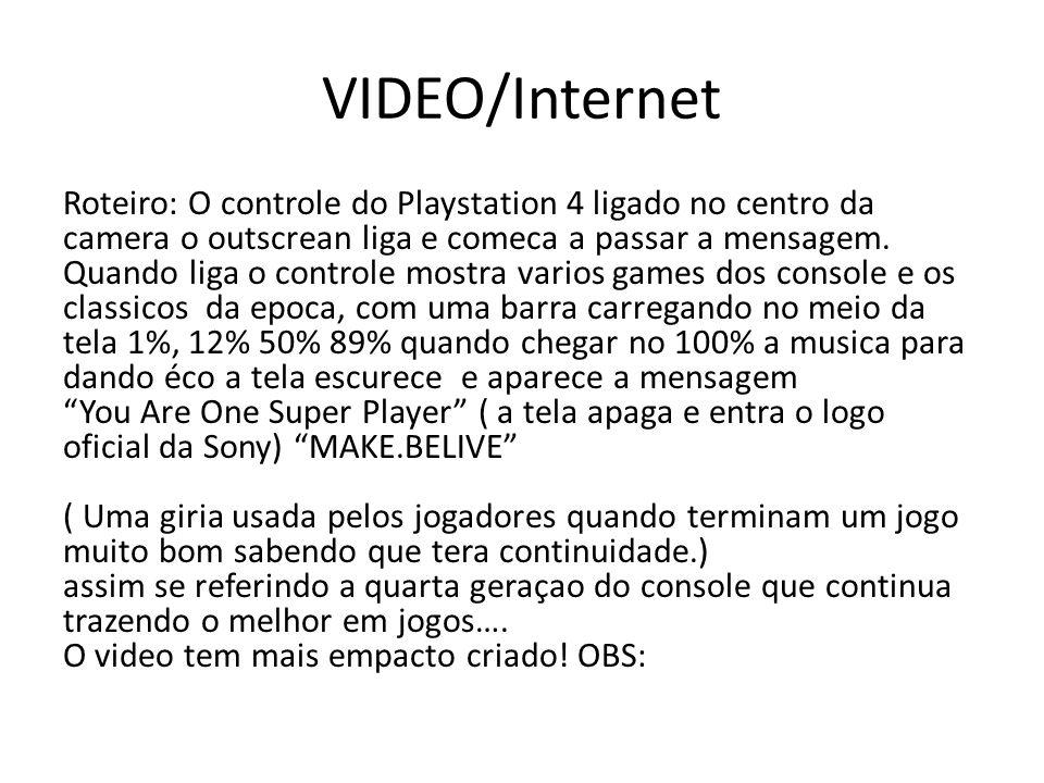 VIDEO/Internet Roteiro: O controle do Playstation 4 ligado no centro da camera o outscrean liga e comeca a passar a mensagem. Quando liga o controle m