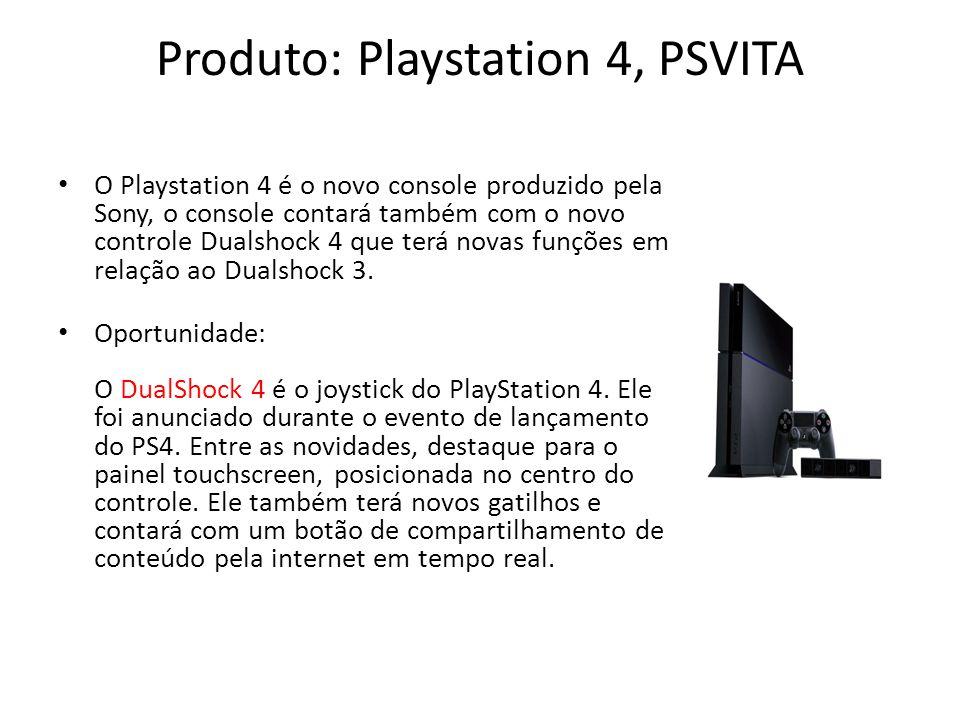 Produto: Playstation 4, PSVITA O Playstation 4 é o novo console produzido pela Sony, o console contará também com o novo controle Dualshock 4 que terá