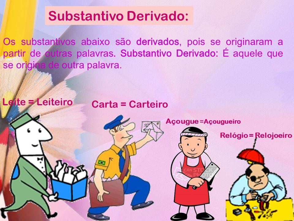 Substantivo Derivado: Os substantivos abaixo são derivados, pois se originaram a partir de outras palavras. Substantivo Derivado: É aquele que se orig