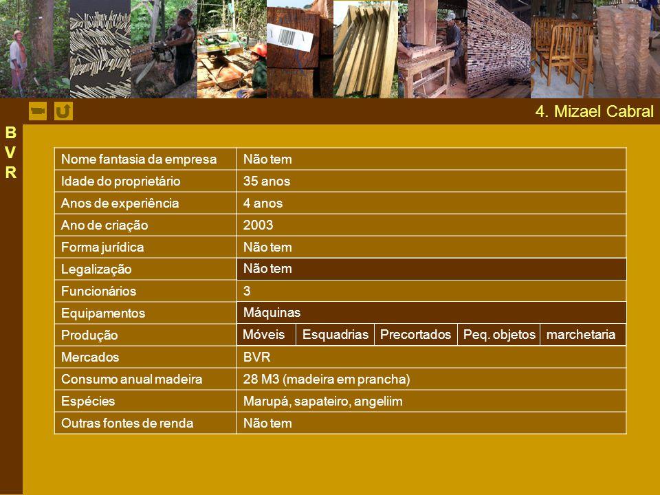 4. Mizael Cabral Nome fantasia da empresaNão tem Idade do proprietário35 anos Anos de experiência4 anos Ano de criação2003 Forma jurídicaNão tem Legal