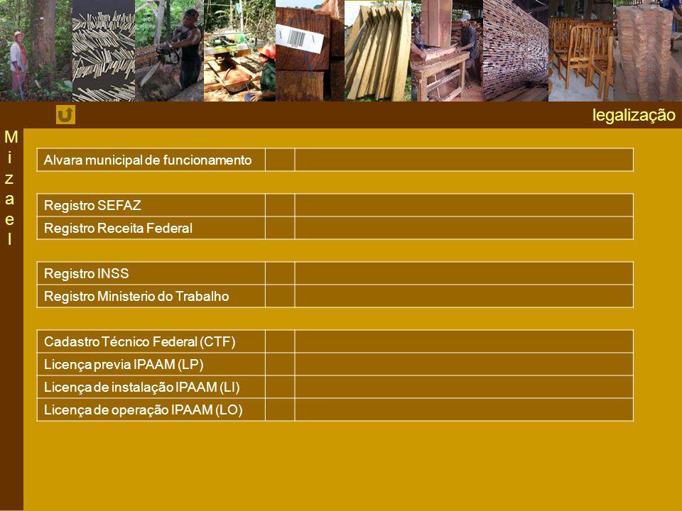 legalização MizaelMizael Alvara municipal de funcionamento Registro SEFAZ Registro Receita Federal Registro INSS Registro Ministerio do Trabalho Cadastro Técnico Federal (CTF) Licença previa IPAAM (LP) Licença de instalação IPAAM (LI) Licença de operação IPAAM (LO)