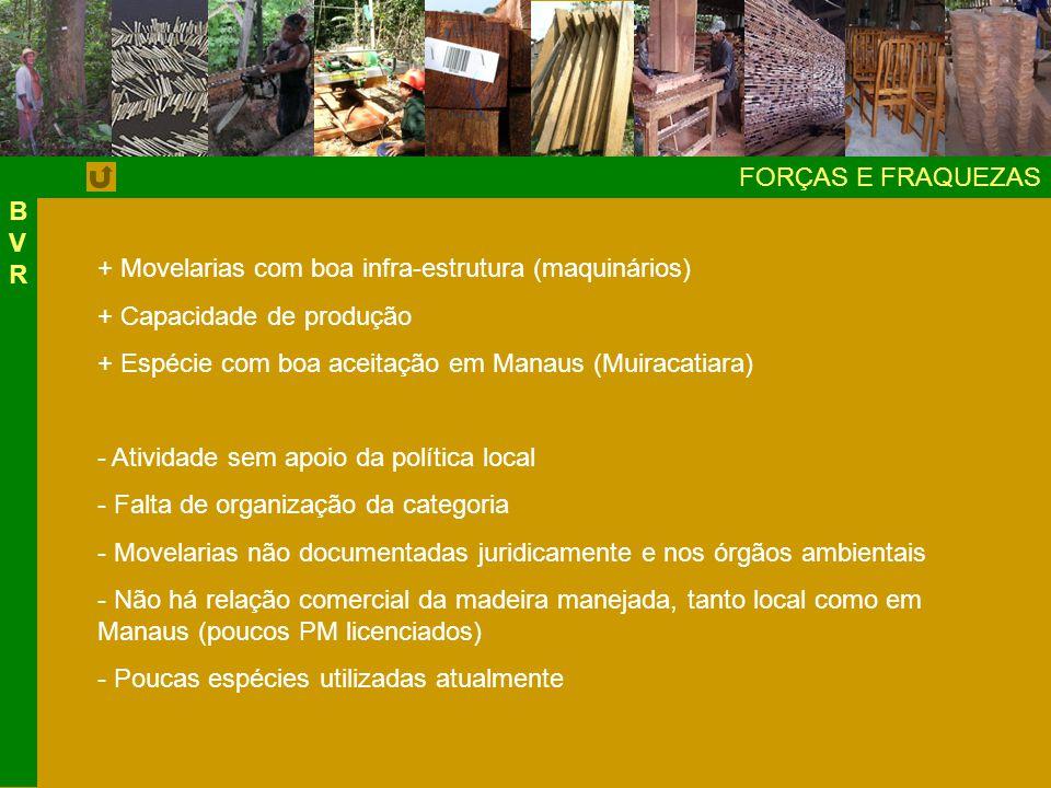 FORÇAS E FRAQUEZAS BVRBVR + Movelarias com boa infra-estrutura (maquinários) + Capacidade de produção + Espécie com boa aceitação em Manaus (Muiracatiara) - Atividade sem apoio da política local - Falta de organização da categoria - Movelarias não documentadas juridicamente e nos órgãos ambientais - Não há relação comercial da madeira manejada, tanto local como em Manaus (poucos PM licenciados) - Poucas espécies utilizadas atualmente