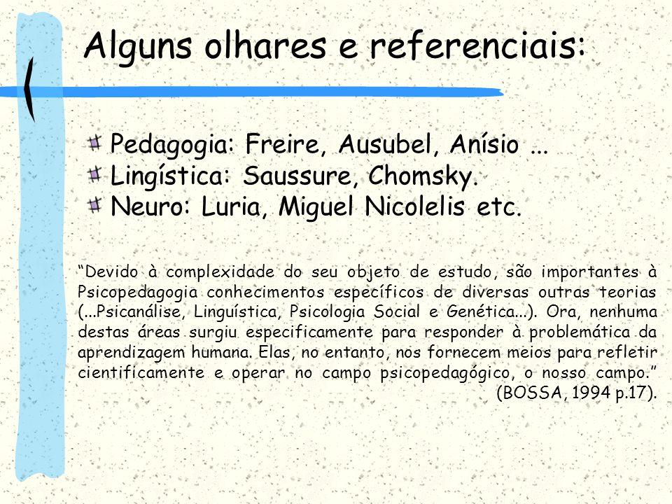 Alguns olhares e referenciais: Pedagogia: Freire, Ausubel, Anísio... Lingística: Saussure, Chomsky. Neuro: Luria, Miguel Nicolelis etc. Devido à compl