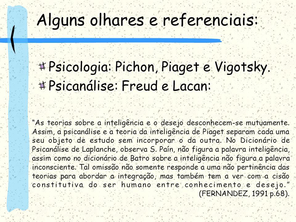 Alguns olhares e referenciais: Psicologia: Pichon, Piaget e Vigotsky. Psicanálise: Freud e Lacan: As teorias sobre a inteligência e o desejo desconhec