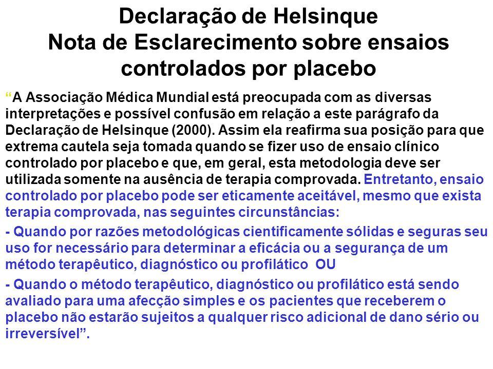 Declaração de Helsinque Nota de Esclarecimento sobre ensaios controlados por placebo A Associação Médica Mundial está preocupada com as diversas interpretações e possível confusão em relação a este parágrafo da Declaração de Helsinque (2000).