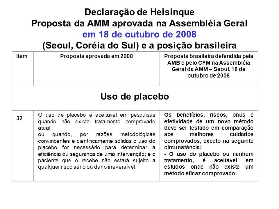 Declaração de Helsinque Proposta da AMM aprovada na Assembléia Geral em 18 de outubro de 2008 (Seoul, Coréia do Sul) e a posição brasileira ItemProposta aprovada em 2008Proposta brasileira defendida pela AMB e pelo CFM na Assembléia Geral da AMM – Seoul, 18 de outubro de 2008 Uso de placebo 32 O uso de placebo é aceitável em pesquisas quando não existe tratamento comprovado atual; ou quando, por razões metodológicas convincentes e cientificamente sólidas o uso do placebo for necessário para determinar a eficiência ou segurança de uma intervenção; e o paciente que o recebe não estará sujeito a qualquer risco sério ou dano irreversível.