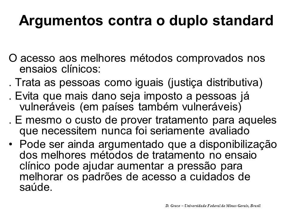 Argumentos contra o duplo standard O acesso aos melhores métodos comprovados nos ensaios clínicos:.