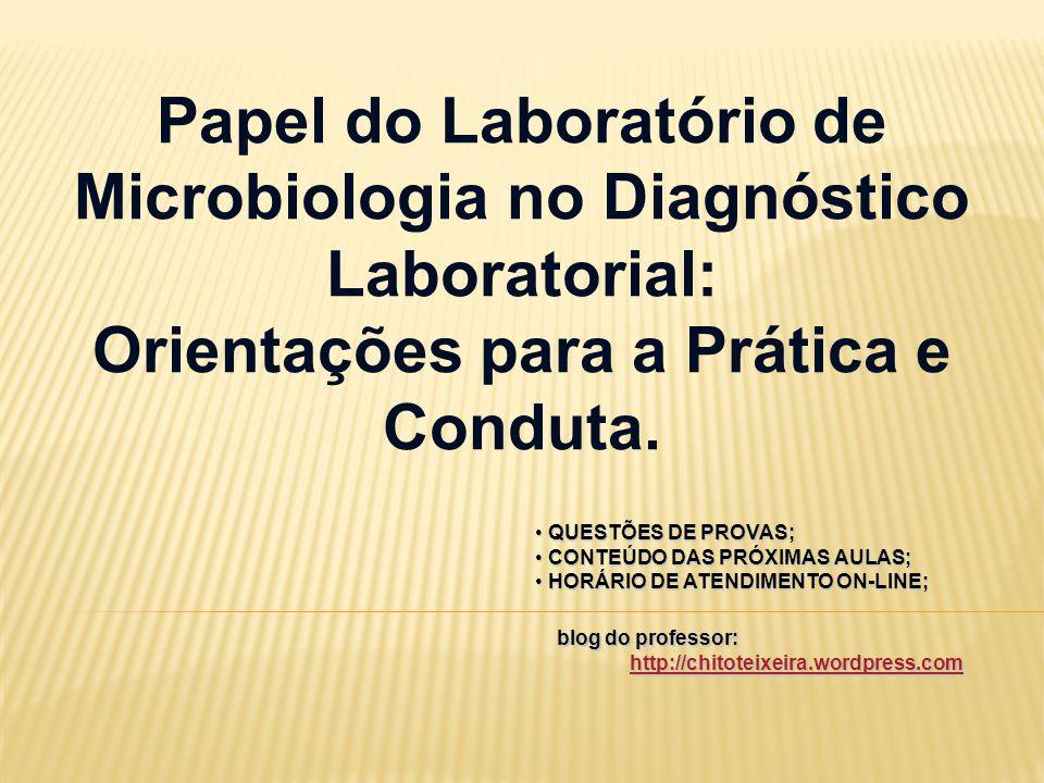 Papel do Laboratório de Microbiologia no Diagnóstico Laboratorial: Orientações para a Prática e Conduta. QUESTÕES DE PROVAS; QUESTÕES DE PROVAS; CONTE