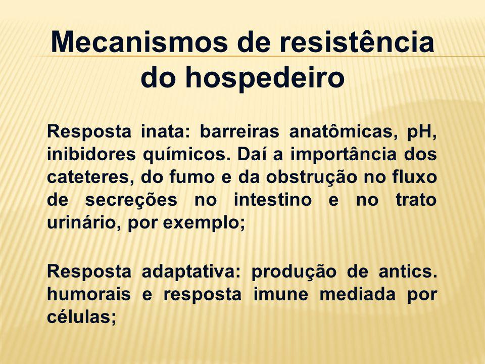 Mecanismos de resistência do hospedeiro Resposta inata: barreiras anatômicas, pH, inibidores químicos. Daí a importância dos cateteres, do fumo e da o