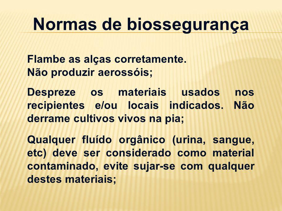 Normas de biossegurança Flambe as alças corretamente. Não produzir aerossóis; Despreze os materiais usados nos recipientes e/ou locais indicados. Não