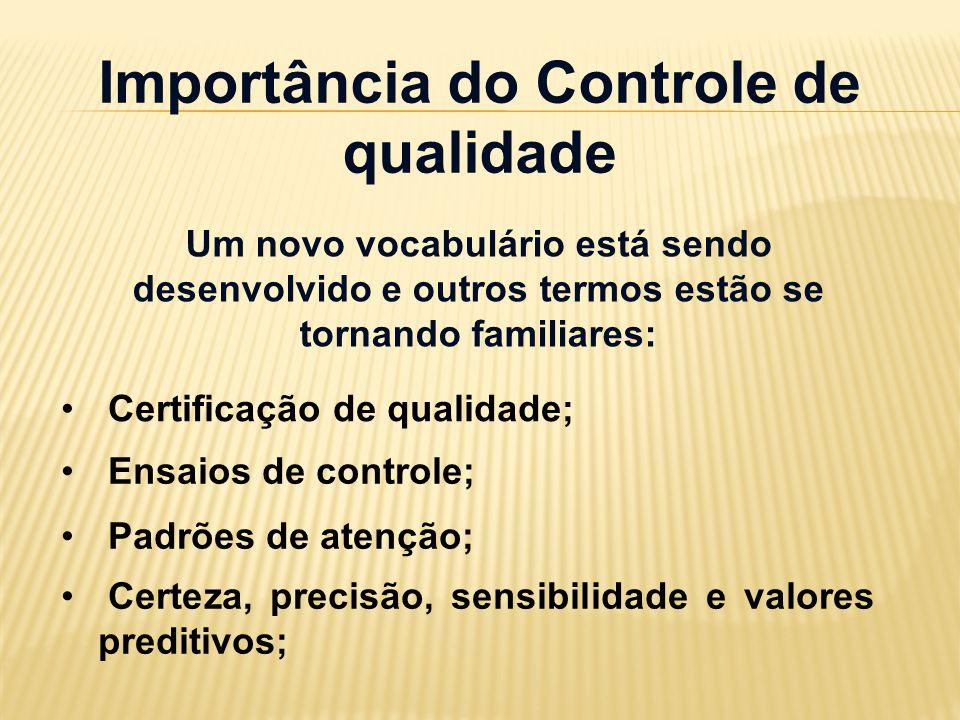 Importância do Controle de qualidade Um novo vocabulário está sendo desenvolvido e outros termos estão se tornando familiares: Certificação de qualida
