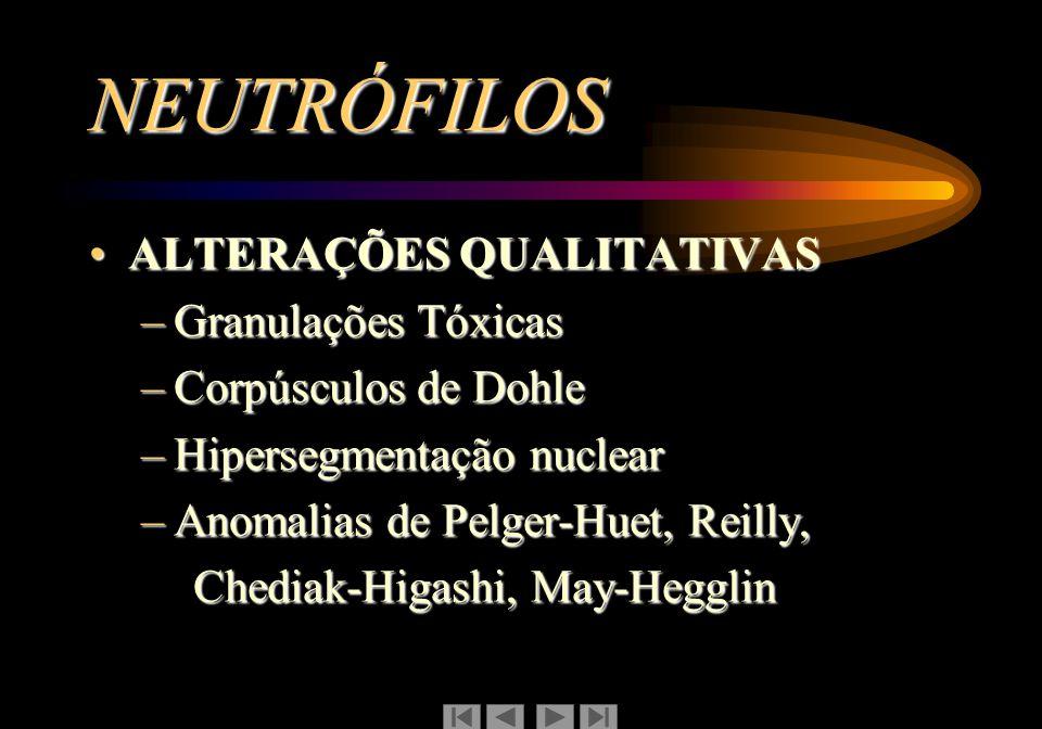 NEUTRÓFILOS ALTERAÇÕES QUALITATIVASALTERAÇÕES QUALITATIVAS –Granulações Tóxicas –Corpúsculos de Dohle –Hipersegmentação nuclear –Anomalias de Pelger-H