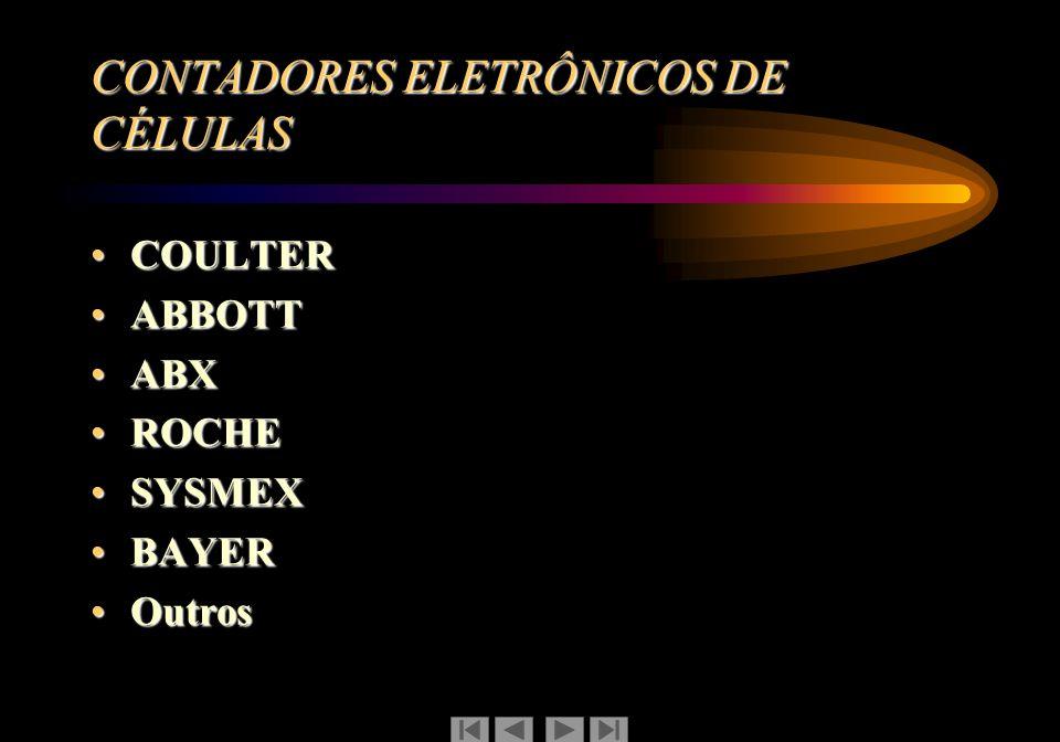 CONTADORES ELETRÔNICOS DE CÉLULAS COULTERCOULTER ABBOTTABBOTT ABXABX ROCHEROCHE SYSMEXSYSMEX BAYERBAYER OutrosOutros