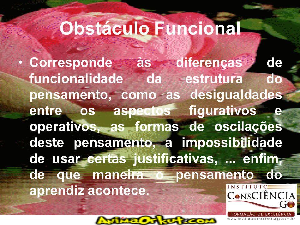 Obstáculo Funcional Corresponde às diferenças de funcionalidade da estrutura do pensamento, como as desigualdades entre os aspectos figurativos e oper