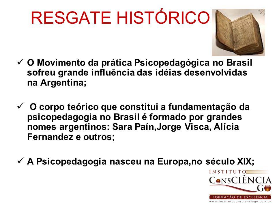 RESGATE HISTÓRICO O Movimento da prática Psicopedagógica no Brasil sofreu grande influência das idéias desenvolvidas na Argentina; O corpo teórico que