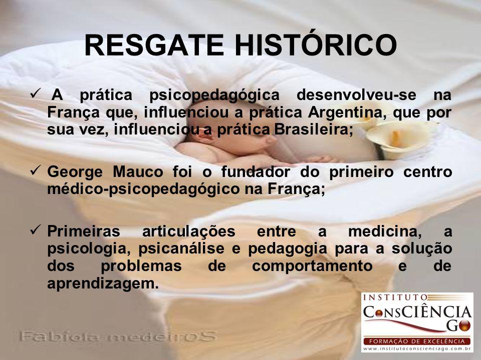 RESGATE HISTÓRICO A prática psicopedagógica desenvolveu-se na França que, influenciou a prática Argentina, que por sua vez, influenciou a prática Bras