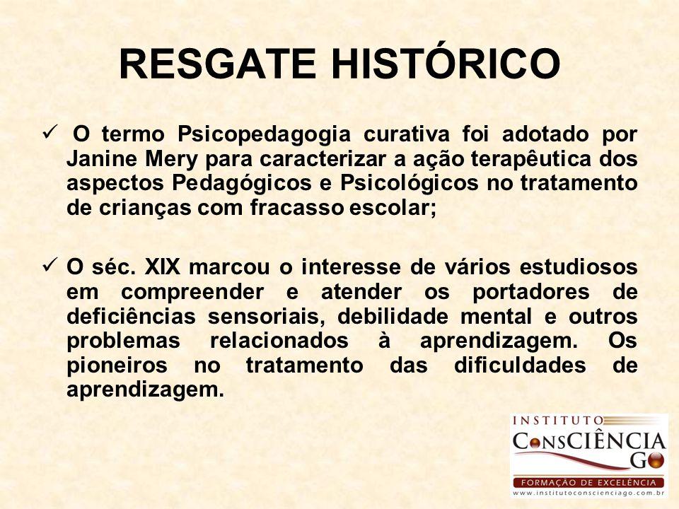 RESGATE HISTÓRICO O termo Psicopedagogia curativa foi adotado por Janine Mery para caracterizar a ação terapêutica dos aspectos Pedagógicos e Psicológ