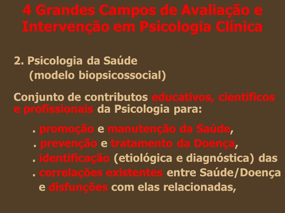 4 Grandes Campos de Avaliação e Intervenção em Psicologia Clínica 2. Psicologia da Saúde (modelo biopsicossocial) Conjunto de contributos educativos,