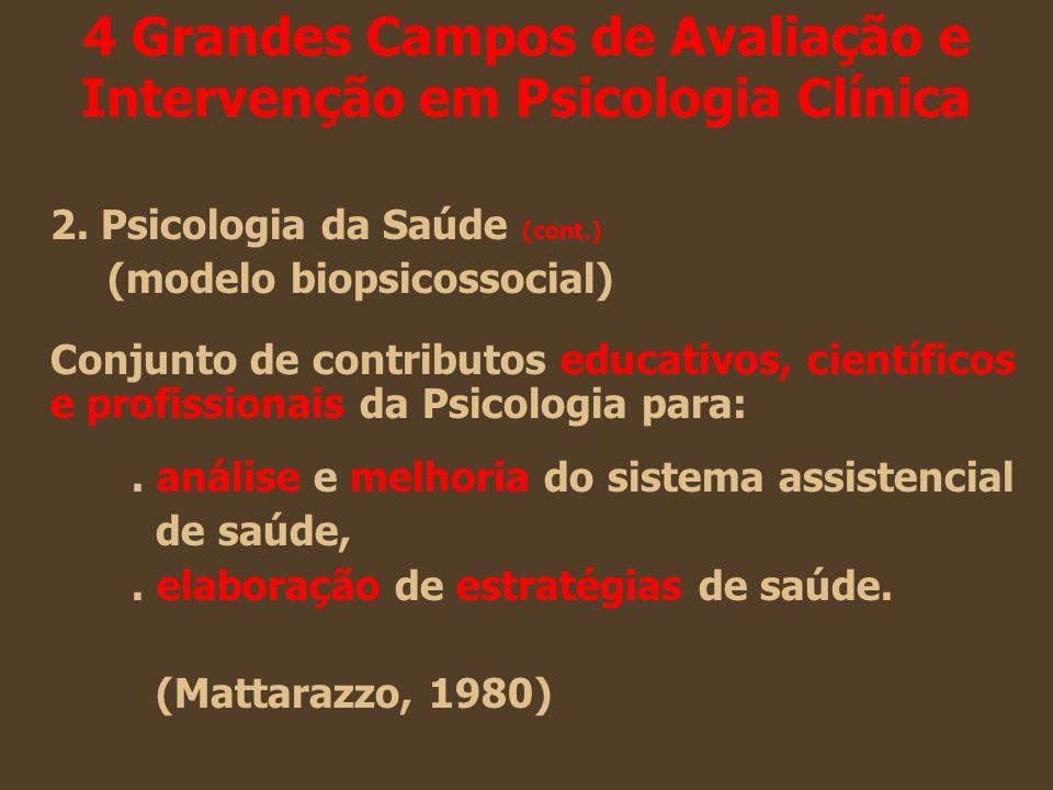 4 Grandes Campos de Avaliação e Intervenção em Psicologia Clínica 2. Psicologia da Saúde (cont.) (modelo biopsicossocial) Conjunto de contributos educ
