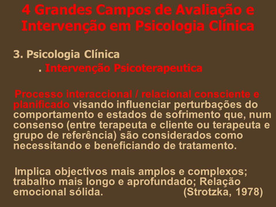 4 Grandes Campos de Avaliação e Intervenção em Psicologia Clínica 3. Psicologia Clínica. Intervenção Psicoterapeutica Processo interaccional / relacio