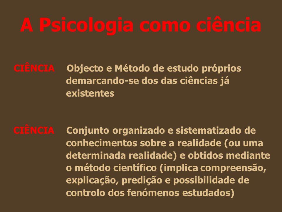 A Psicologia como ciência CIÊNCIA Objecto e Método de estudo próprios demarcando-se dos das ciências já existentes CIÊNCIA Conjunto organizado e siste