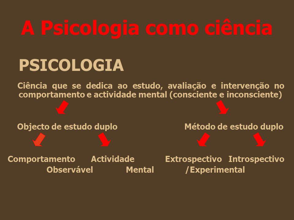 A Psicologia como ciência PSICOLOGIA Ciência que se dedica ao estudo, avaliação e intervenção no comportamento e actividade mental (consciente e incon