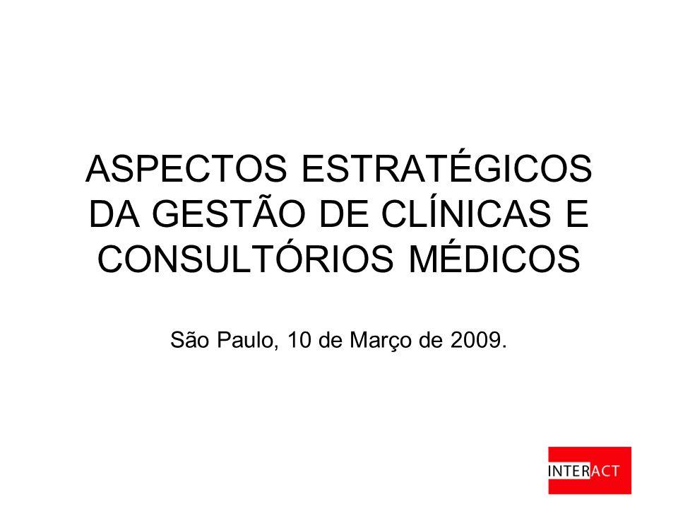 ASPECTOS ESTRATÉGICOS DA GESTÃO DE CLÍNICAS E CONSULTÓRIOS MÉDICOS São Paulo, 10 de Março de 2009.
