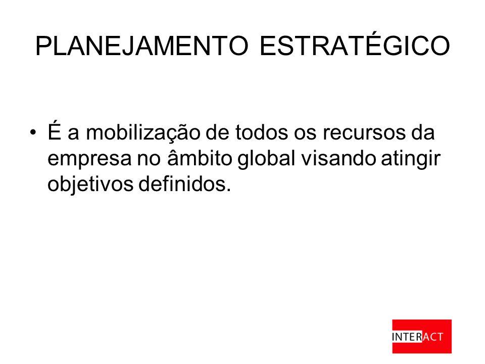 PLANEJAMENTO ESTRATÉGICO É a mobilização de todos os recursos da empresa no âmbito global visando atingir objetivos definidos.