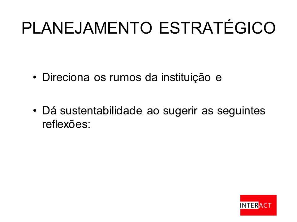 PLANEJAMENTO ESTRATÉGICO Direciona os rumos da instituição e Dá sustentabilidade ao sugerir as seguintes reflexões: