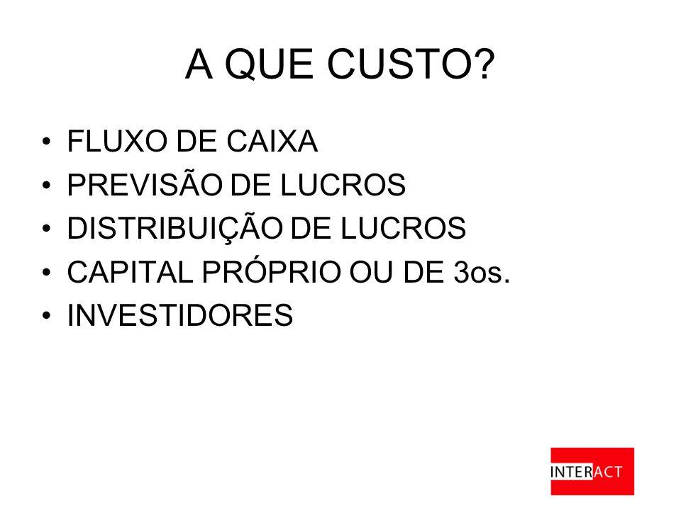 A QUE CUSTO.FLUXO DE CAIXA PREVISÃO DE LUCROS DISTRIBUIÇÃO DE LUCROS CAPITAL PRÓPRIO OU DE 3os.