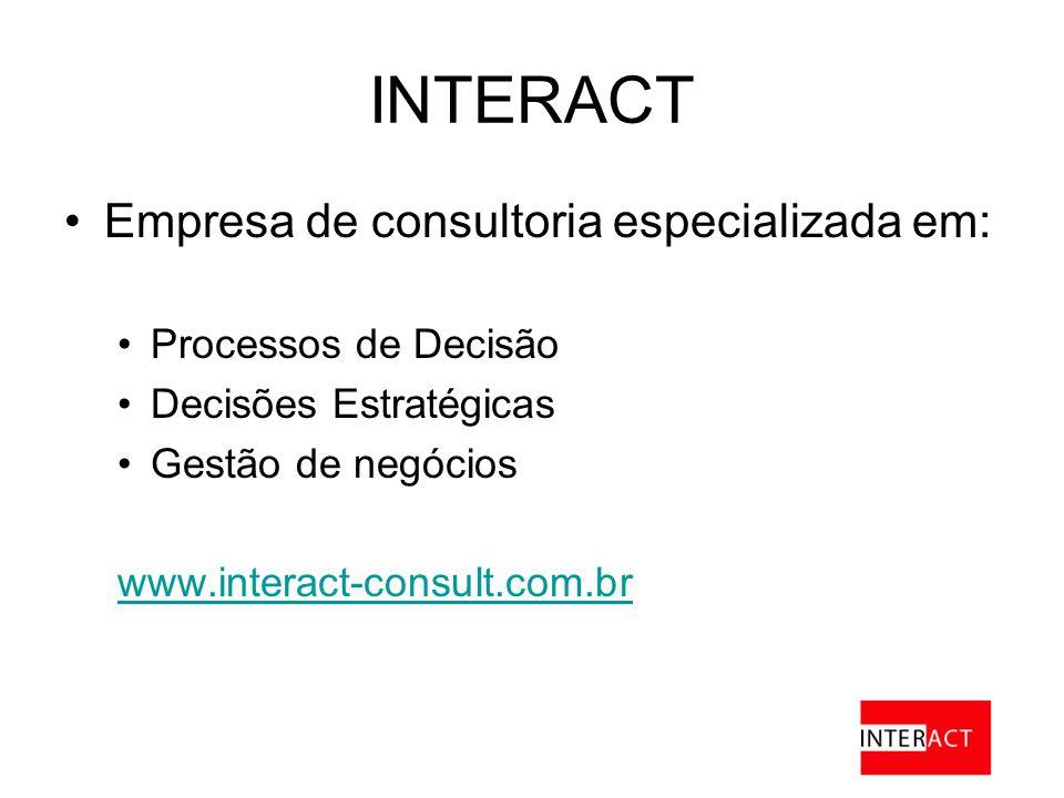 INTERACT Empresa de consultoria especializada em: Processos de Decisão Decisões Estratégicas Gestão de negócios www.interact-consult.com.br