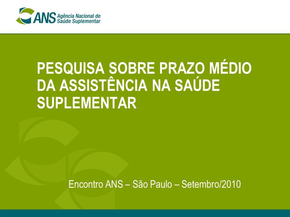 PESQUISA SOBRE PRAZO MÉDIO DA ASSISTÊNCIA NA SAÚDE SUPLEMENTAR Encontro ANS – São Paulo – Setembro/2010