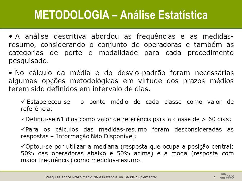 Pesquisa sobre Prazo Médio da Assistência na Saúde Suplementar 6 METODOLOGIA – Análise Estatística A análise descritiva abordou as frequências e as me